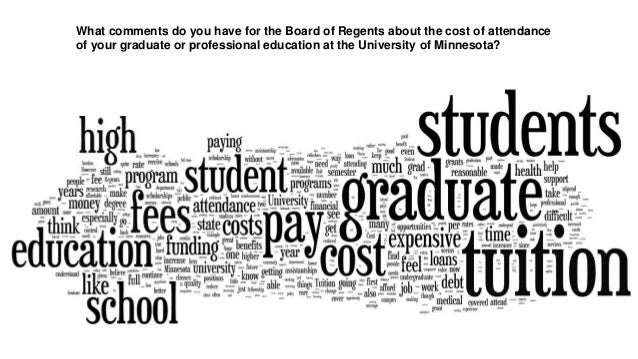 What comments do you have for the Board of Regents about the cost of attendanceof your graduate or professional education ...