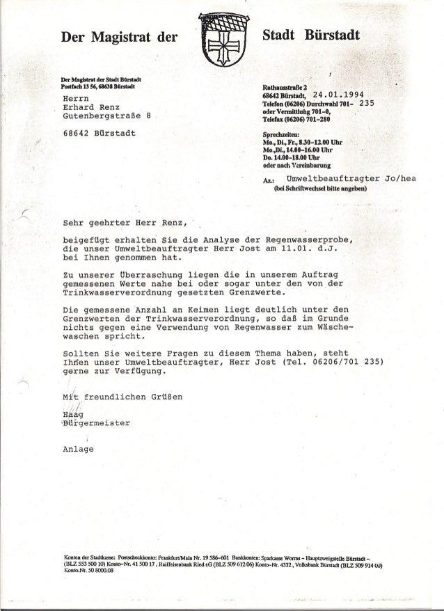 Regenwasserprobe 1994 Zisterne