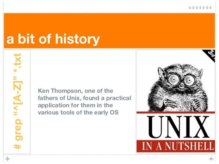 """a bit of history # grep """"^[A-Z]"""" *.txt                             Ken Thompson, one of the                         father..."""