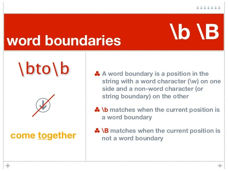 word boundaries                       b B  btob         A word boundary is a position in the                 string with a...