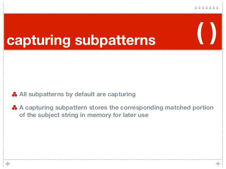 capturing subpatterns                                     ()   All subpatterns by default are capturing   A capturing subp...