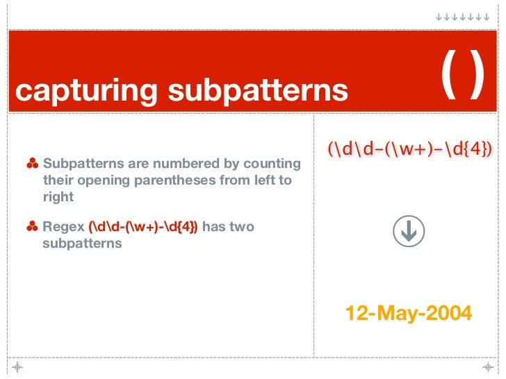 capturing subpatterns                                 ()                                           (dd-(w+)-d{4})  Subpatt...