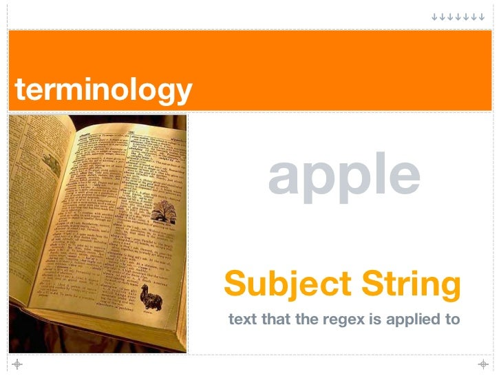 terminology                     apple               Subject String               text that the regex is applied to