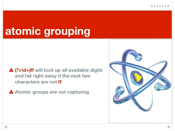 atomic grouping    (?>d+)ff will lock up all available digits  and fail right away if the next two  characters are not ff ...