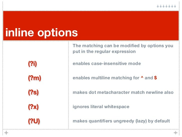 inline options              The matching can be modified by options you              put in the regular expression      (?i...