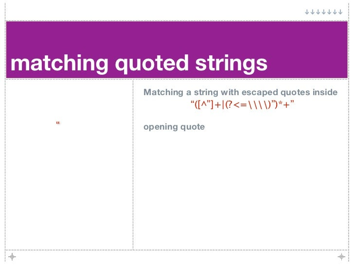 """matching quoted strings            Matching a string with escaped quotes inside                      """"([^""""]+