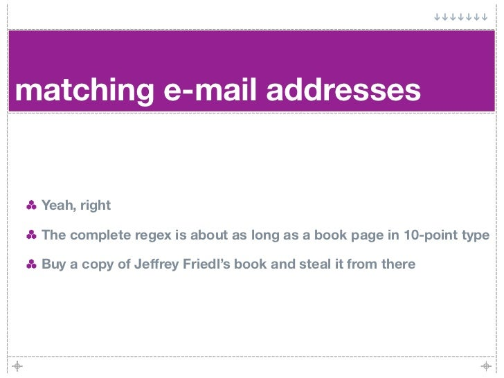matching e-mail addresses    Yeah, right   The complete regex is about as long as a book page in 10-point type   Buy a cop...
