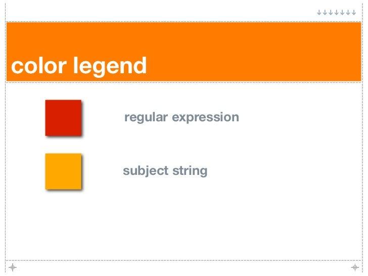 color legend            regular expression             subject string