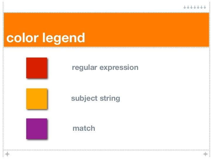 color legend            regular expression             subject string              match
