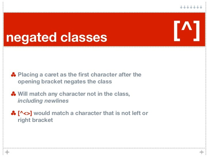 negated classes                                      [^]  Placing a caret as the first character after the  opening bracket...