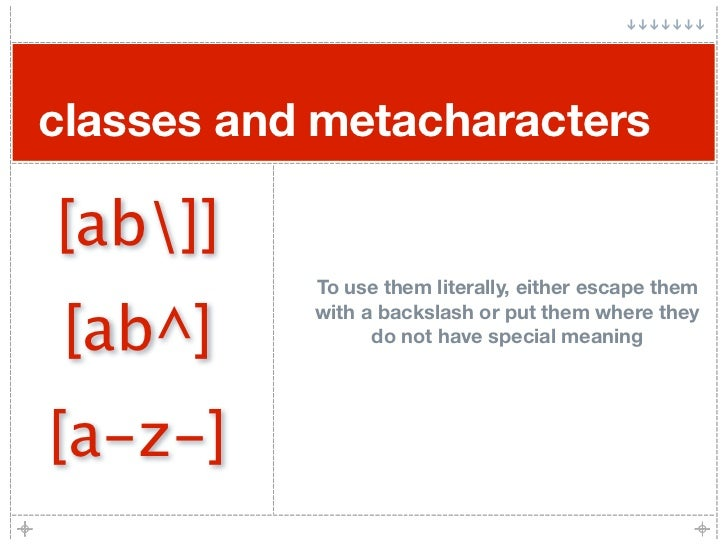 classes and metacharacters  [ab]]            To use them literally, either escape them   [ab^]            with a backslash...