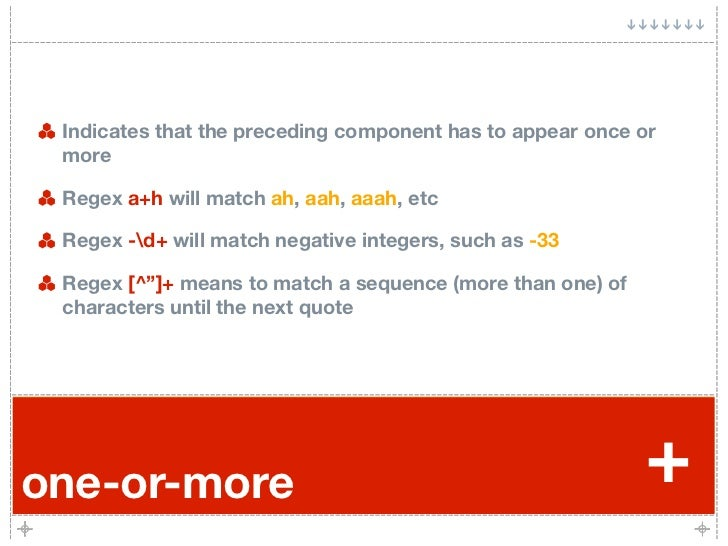 Indicates that the preceding component has to appear once or  more   Regex a+h will match ah, aah, aaah, etc   Regex -d+ w...