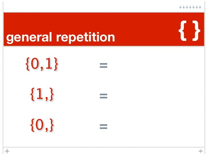 general repetition   {}    {0,1}       =     {1,}        =     {0,}        =