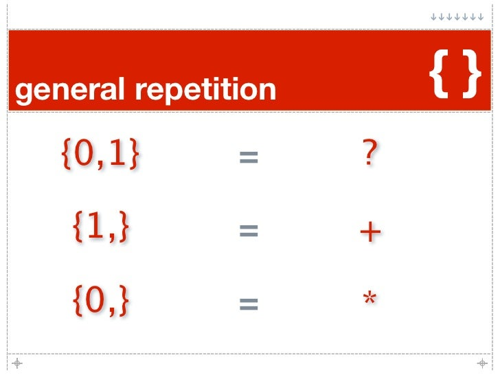 general repetition       {}    {0,1}       =     ?     {1,}        =     +    {0,}        =     *