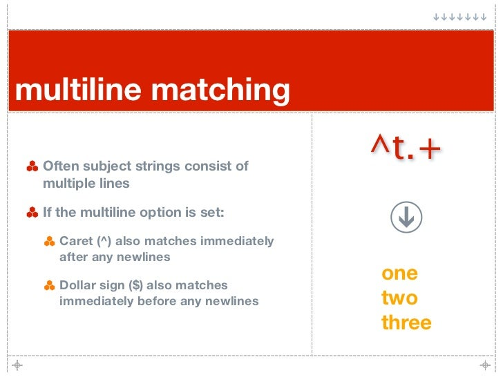 multiline matching   Often subject strings consist of                                         ^t.+  multiple lines   If th...