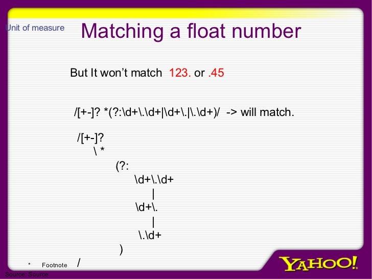 Matching a float number /[+-]? *(?:d+.d+ d+. .d+)/  -> will match. But It won't match  123.  or  .45 /[+-]?  * (?:   d+.d+...