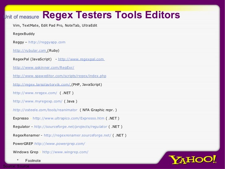 Regex Testers Tools Editors Vim, TextMate, Edit Pad Pro, NoteTab, UltraEdit RegexBuddy Reggy –  http:// reggyapp.com http:...