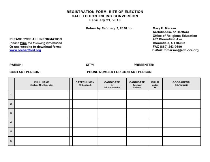 REGISTRATION FORM- RITE OF ELECTION                                             CALL TO CONTINUING CONVERSION             ...