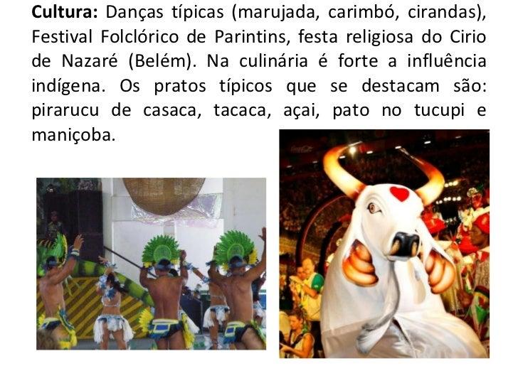 Cultura:  Danças típicas (marujada, carimbó, cirandas), Festival Folclórico de Parintins, festa religiosa do Cirio de Naza...
