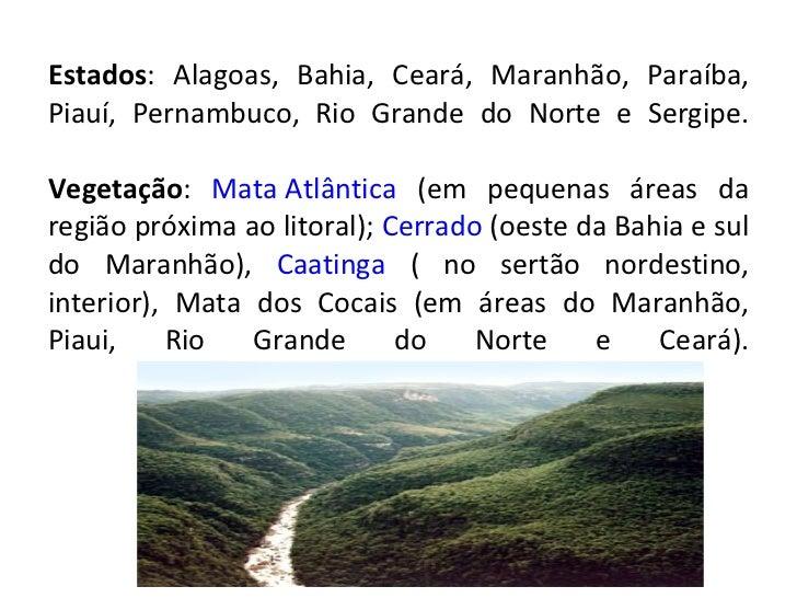 Estados : Alagoas, Bahia, Ceará, Maranhão, Paraíba, Piauí, Pernambuco, Rio Grande do Norte e Sergipe. Vegetação :  Mata At...