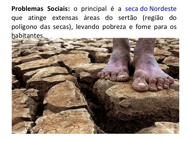 Problemas Sociais:  o principal é a  seca do Nordeste  que atinge extensas áreas do sertão (região do polígono das secas),...