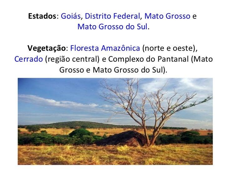 Estados : Goiás ,  Distrito Federal ,  Mato Grosso  e  Mato Grosso do Sul . Vegetação :  Floresta Amazônica  (norte e oes...