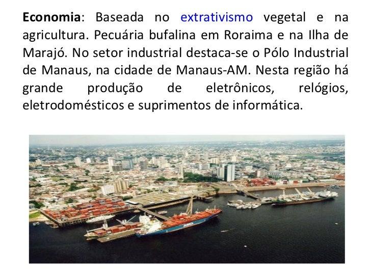 Economia : Baseada no  extrativismo  vegetal e na agricultura. Pecuária bufalina em Roraima e na Ilha de Marajó. No setor ...