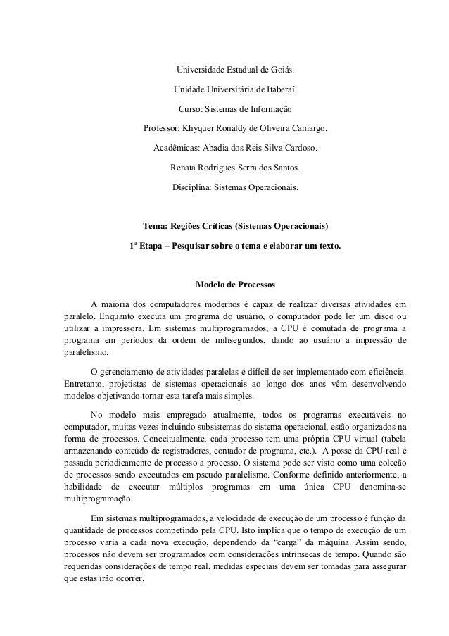 Universidade Estadual de Goiás.  Unidade Universitária de Itaberaí.  Curso: Sistemas de Informação  Professor: Khyquer Ron...