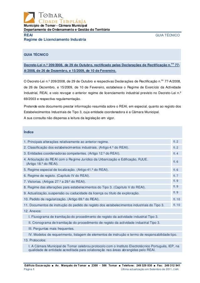 Município de Tomar - Câmara Municipal Departamento de Ordenamento e Gestão do Território REAI GUIA TÉCNICO Regime de Licen...