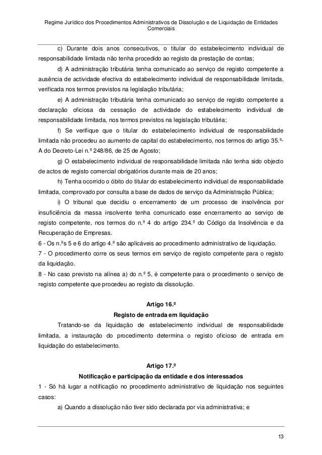 Regime jur dico dos procedimentos administrativos de dissolu o e de - Regime 16 8 ...