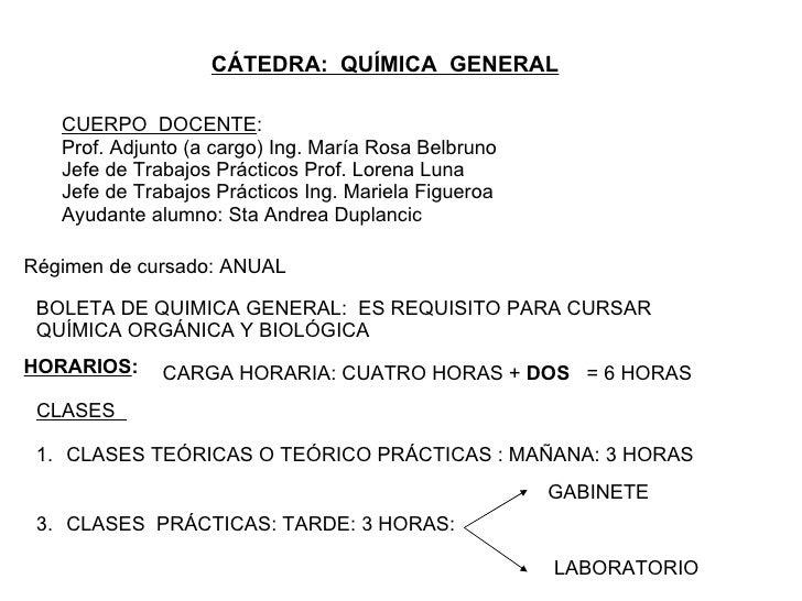 CÁTEDRA:  QUÍMICA  GENERAL CUERPO  DOCENTE : Prof. Adjunto (a cargo) Ing. María Rosa Belbruno Jefe de Trabajos Prácticos P...