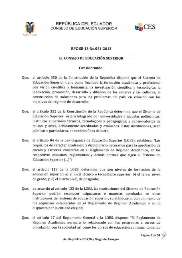 Reglamento de Régimen Académico.