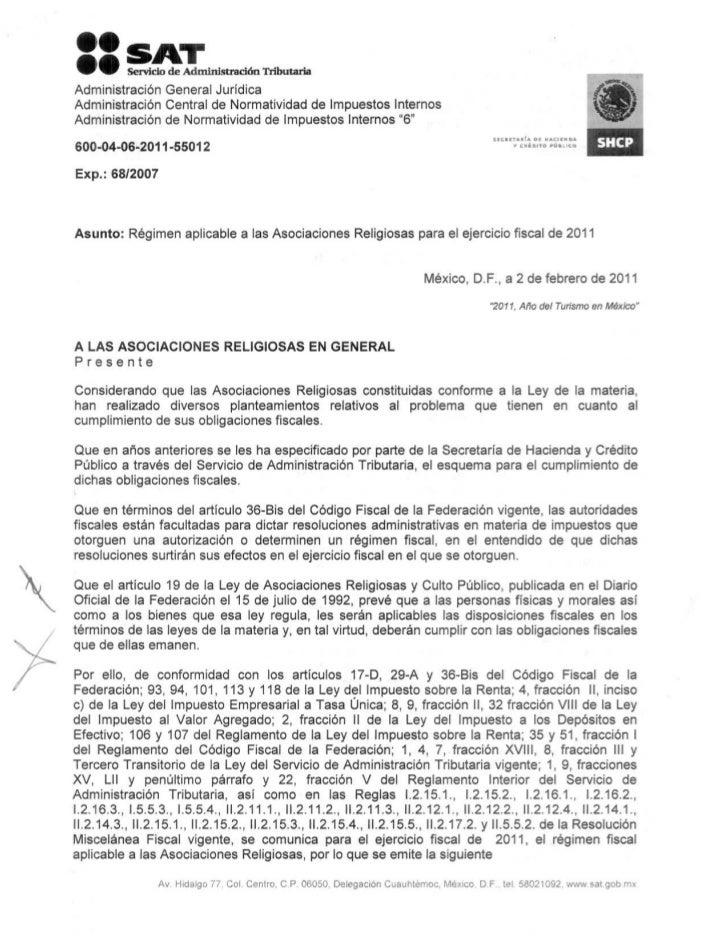Regimen aplicable a las asociaciones religiosas para el ejercicio fiscal de 2011