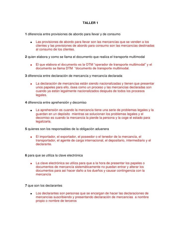 TALLER 1 <br />1 diferencia entre provisiones de abordo para llevar y de consumo<br />Las provisiones de abordo para lleva...