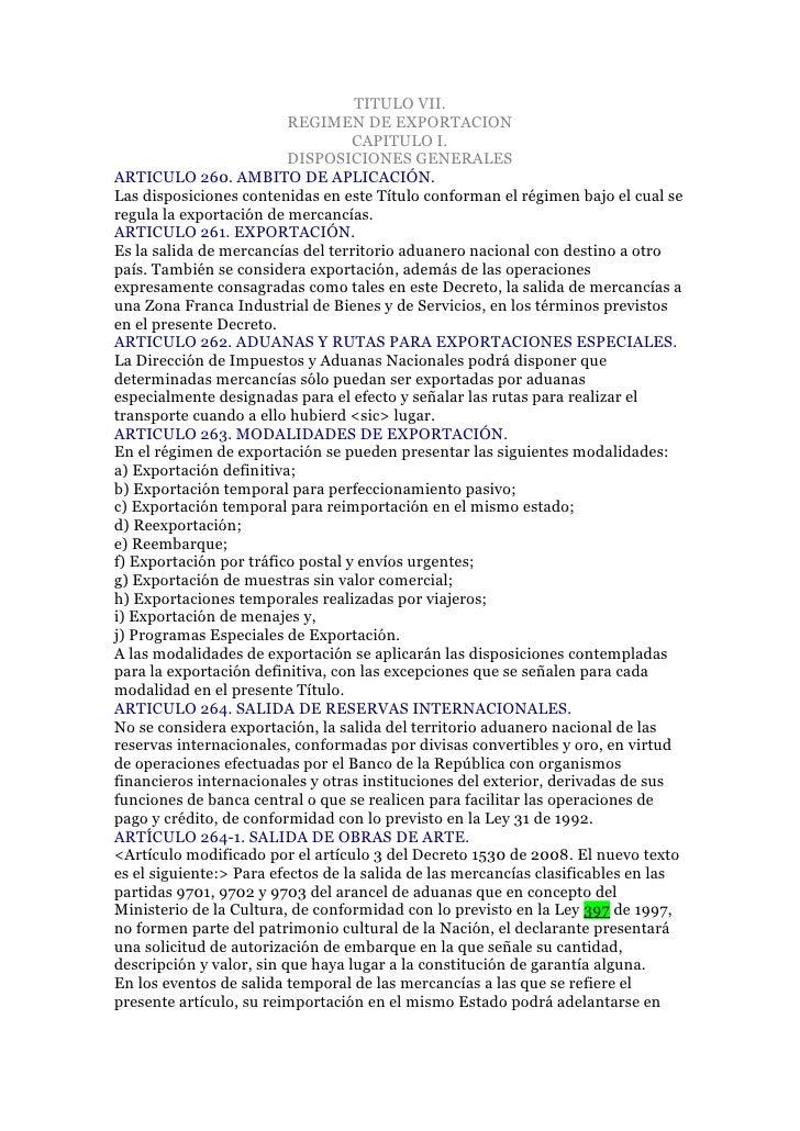 TITULO VII.                          REGIMEN DE EXPORTACION                                   CAPITULO I.                 ...