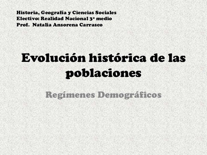 Evolución histórica de las poblaciones<br />Regímenes Demográficos<br />Historia, Geografía y Ciencias Sociales <br />Elec...