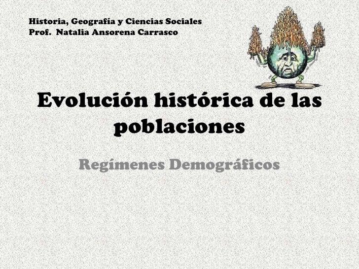 Evolución histórica de las poblaciones<br />Regímenes Demográficos<br />Historia, Geografía y Ciencias Sociales <br />Prof...