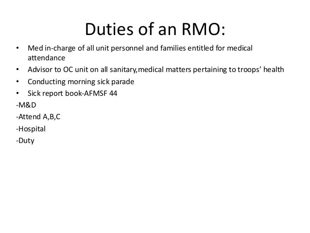Regimental Medical Officerrmo – Medical Officer Job Description