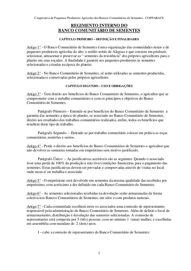 Cooperativa de Pequenos Produtores Agrícolas dos Bancos Comunitários de Sementes - COPPABACS                         REGIM...