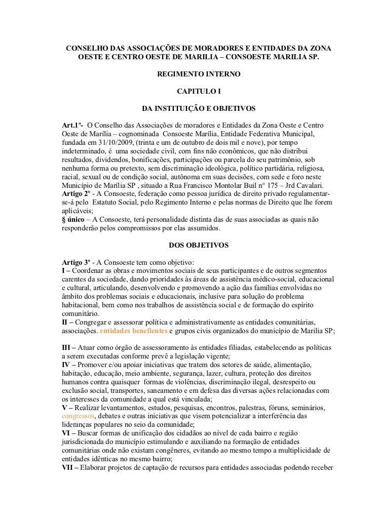 CONSELHO DAS ASSOCIAÇÕES DE MORADORES E ENTIDADES DA ZONA   OESTE E CENTRO OESTE DE MARILIA – CONSOESTE MARILIA SP.       ...