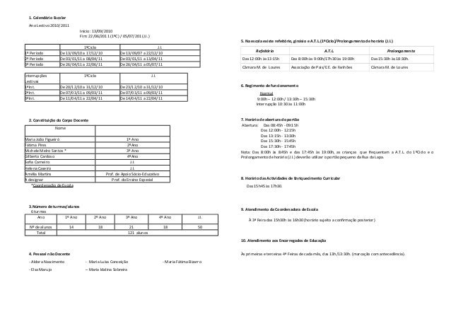 1. Calendário Escolar Ano Lectivo 2010/2011 Início: 13/09/2010 Fim: 22/06/2011 (1ºC) / 05/07/201 (J.I.) 1ºCiclo J.I. 1º Pe...