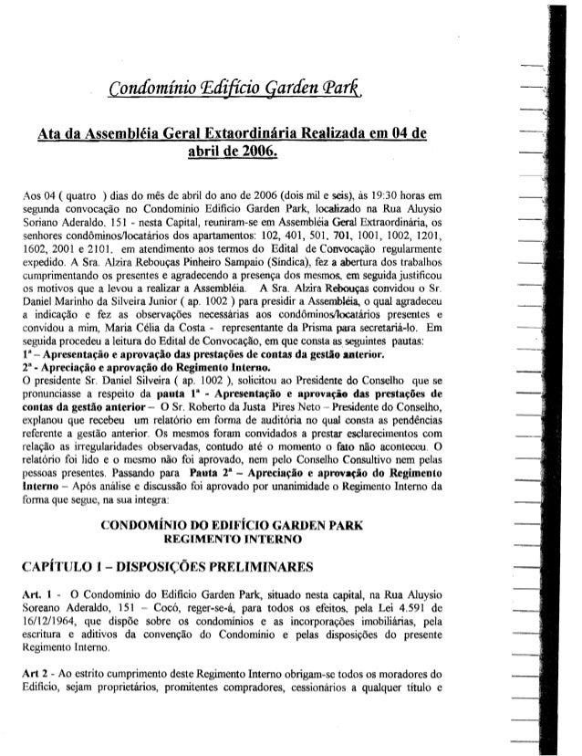 COndominio P,cfi..ficio qartfen q>ar~.   Ata da Assembleia Geral Extaordinaria Realizada em 04 de                        a...