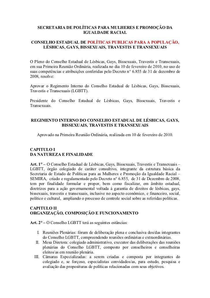 SECRETARIA DE POLÍTICAS PARA MULHERES E PROMOÇÃO DA                      IGUALDADE RACIALCONSELHO ESTADUAL DE POLÍTICAS PU...