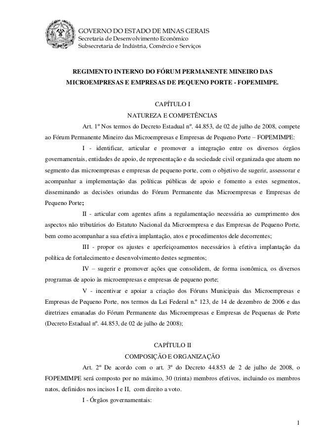 GOVERNO DO ESTADO DE MINAS GERAIS Secretaria de Desenvolvimento Econômico Subsecretaria de Indústria, Comércio e Serviços ...