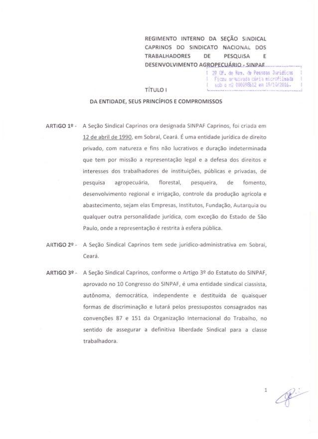 1 REGIMENTO INTERNO DA SEÇÃO SINDICAL CAPRINOS DO SINDICATO NACIONAL DOS TRABALHADORES DE PESQUISA E DESENVO LVIM ENTO AGR...