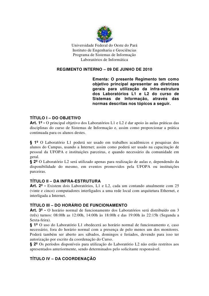 Universidade Federal do Oeste do Pará                         Instituto de Engenharia e Geociências                       ...