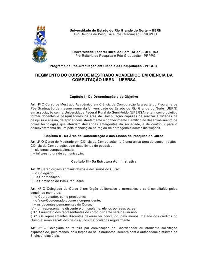 Universidade do Estado do Rio Grande do Norte -- UERN                           Pró-Reitoria de Pesquisa e Pós-Graduação -...
