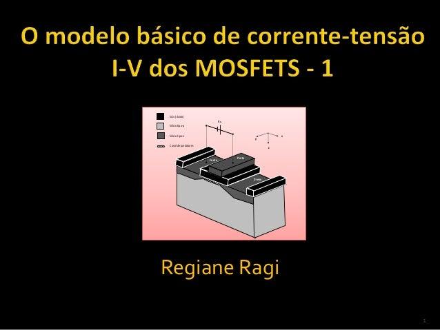 1 Regiane Ragi SiO2 (óxido) Dreno Fonte Porta Silíciotipo-p Canal de portadores VG y z xSilíciotipo-n