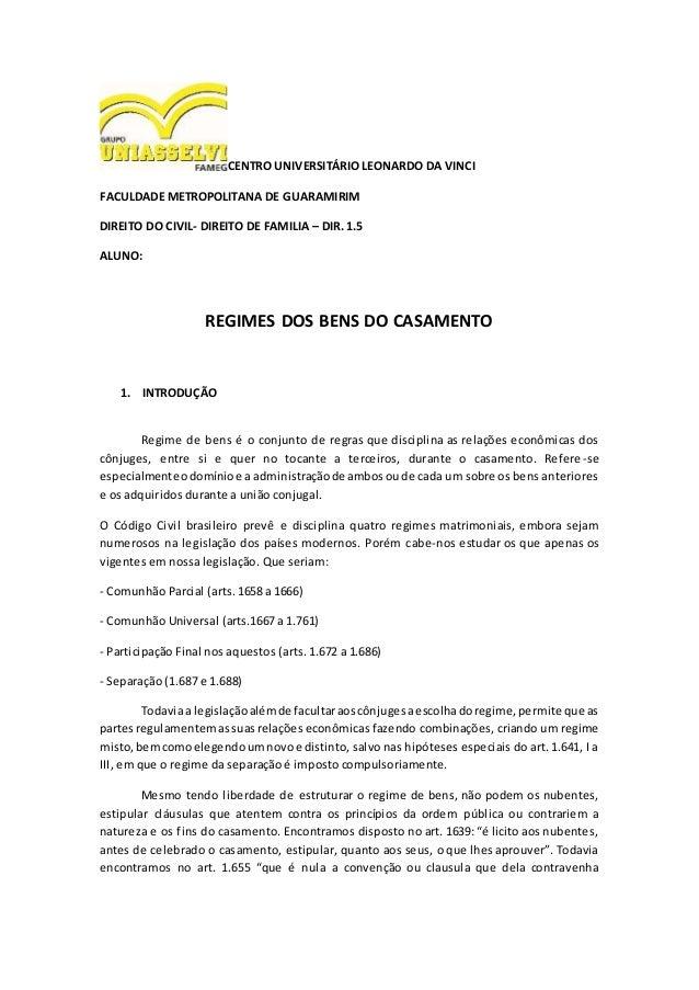 CENTRO UNIVERSITÁRIO LEONARDO DA VINCI FACULDADE METROPOLITANA DE GUARAMIRIM DIREITO DO CIVIL- DIREITO DE FAMILIA – DIR. 1...