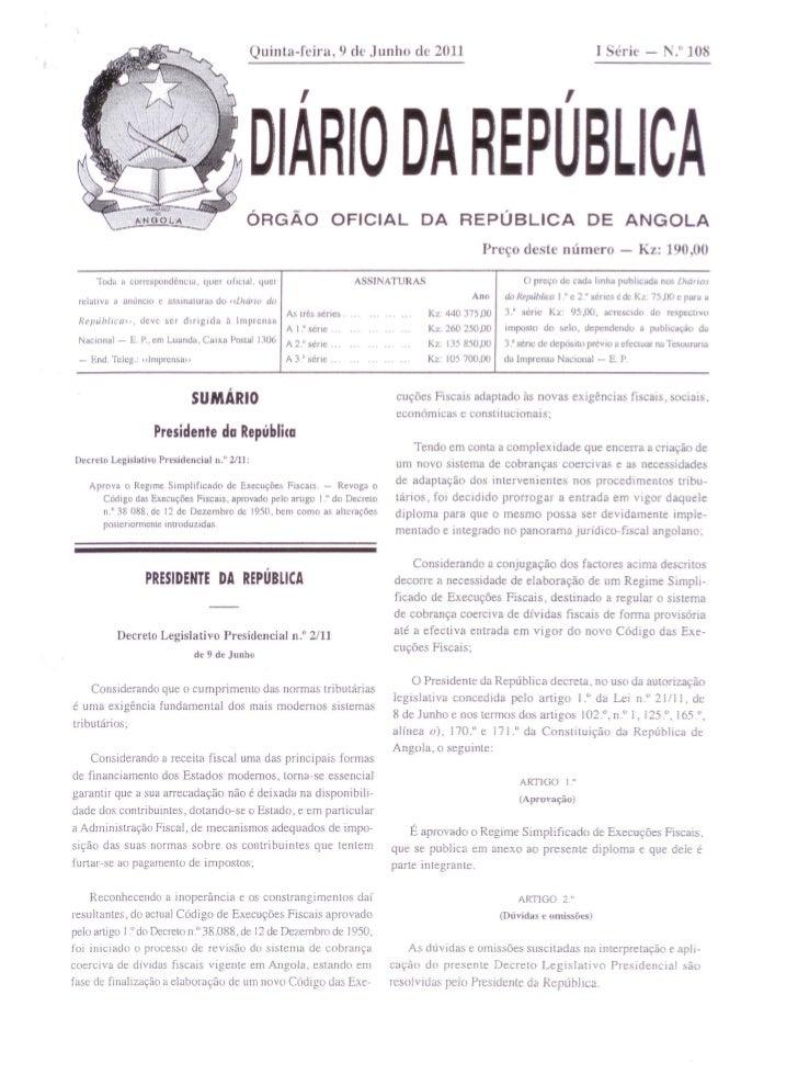 """Quinta-feira,9              de Junho de 2011                                                      I Serie - N."""" 108       ..."""